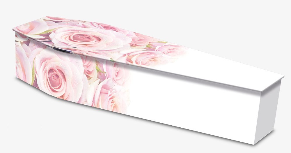 Colourful Rose Image Wooden Coffin