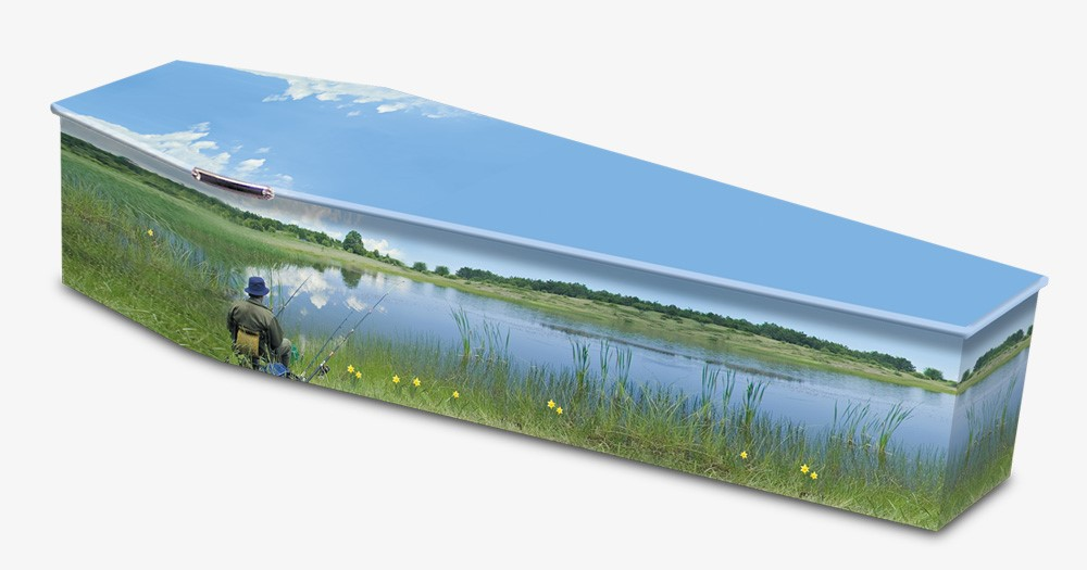 Colourful Fishing Image Wooden Coffin