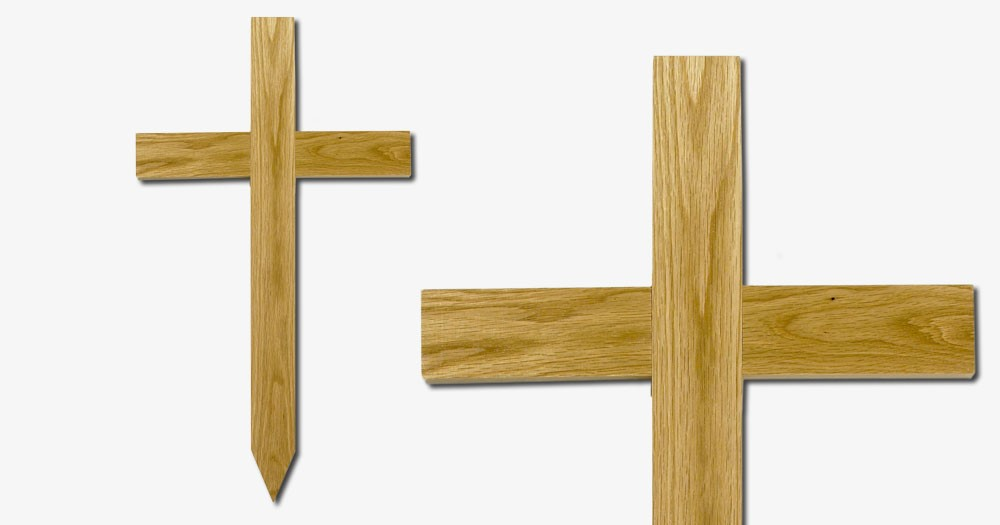 Grave Marker Light Oak Small Cross